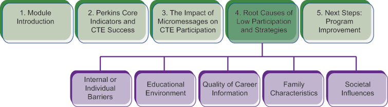 Course structure diagram, highlighting the current section 4 Root Causes of Low Participation and Strategies