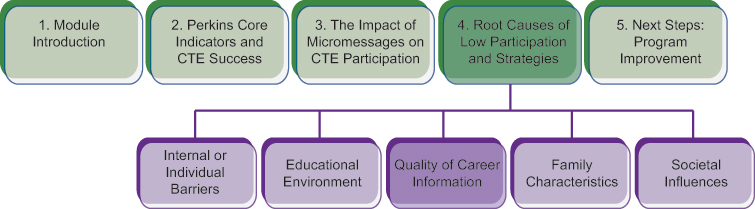 Course structure diagram, highlighting the third subtopic of section 4: quality of career information