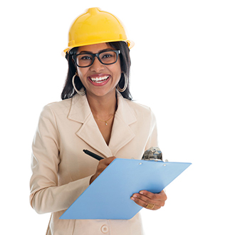 Female construction engineering technician.