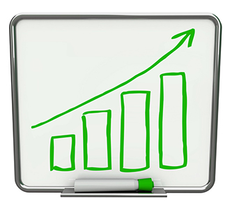 Growth bars and an arrow pointing upwards on a white dry erase board with a green marker.