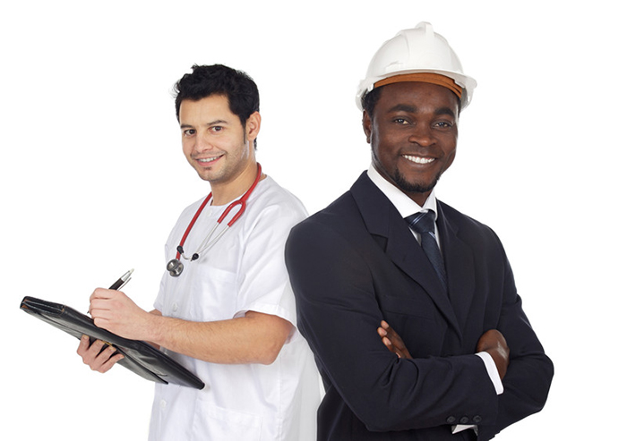 Two happy workers. One is a Mexican-American nurse. The other is an African-American architect.
