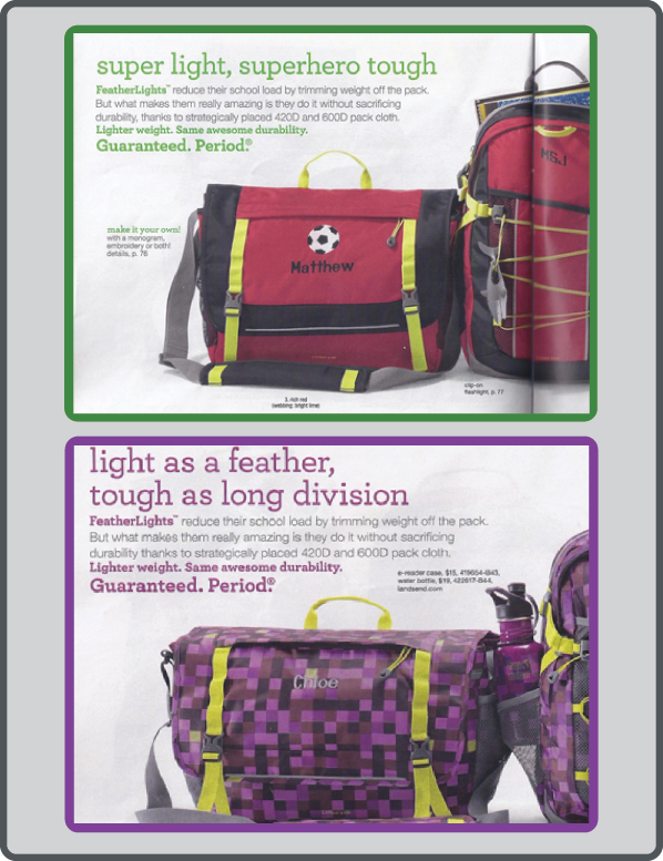 Ad for boys' and girls' school bags