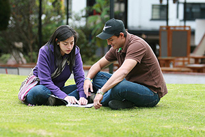 Two college students studying outside