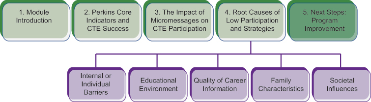 Course structure diagram with highlighted section 5: Next Steps: Program Improvement